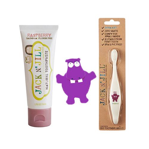 Doğal Macun Ve Fırça Set 2'li Hippo Ahududu