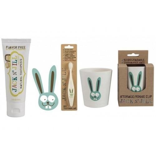 Doğal Macun,Fırça ve Bardak 3'lü Set Bunny