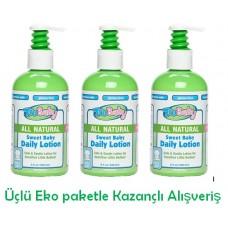 Sweet Baby Daily Lotion-Bebekler için Tamamen Doğal Güneş sonrası Yüz ve Vücut Losyonu 236 ml 3 lü Ekopaket
